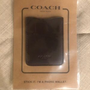 New Coach Leather Phone Pocket Sticker in Oxblood